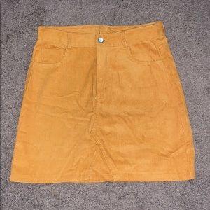 Mustard yellow corduroy mini skirt denim looking